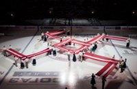 В Риге перед хоккейным матчем развернули свастику из флагов Латвии