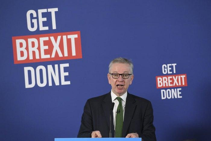 Майкл Гоув во время пресс-конференции на тему Brexit, Лондон, 29 ноября 2019.