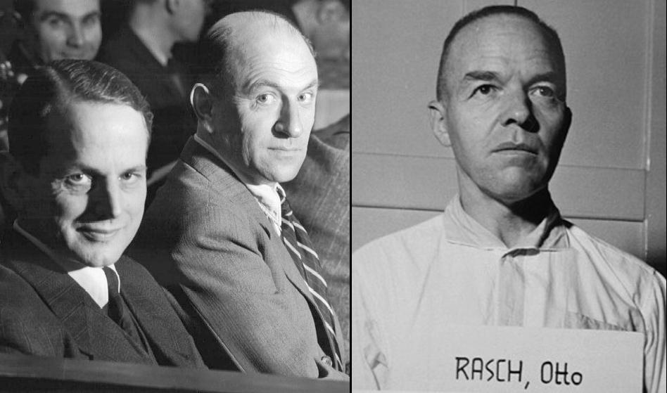 На фото слева подсудимые Отто Олендорф (слева) и Хайнц Йост во время процесса, 9 февраля 1948 г. На фото справа -Отто Раш.