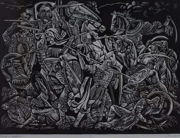 """Работа Василия Лопаты """"Битва с половцами"""", 1981 г."""