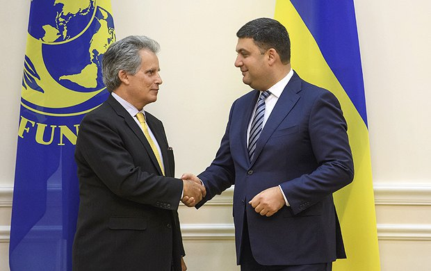 Владимир Гройсман и Дэвид Липтон во время встречи в Киеве