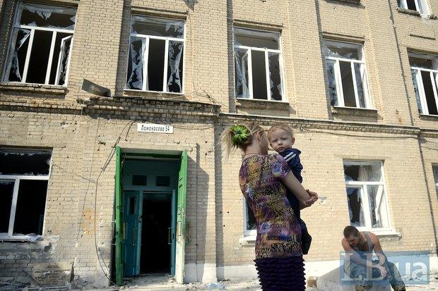 Школа в Иловайске после обстрела