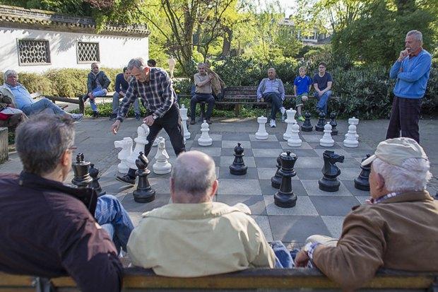 Пенсионеры играют шахматы в Франкфуртском парке, Германия