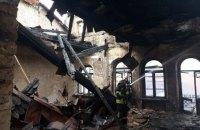 В Киеве снова горел старый дом на Хмельницкого, где два с половиной года назад произошел обвал с погибшими