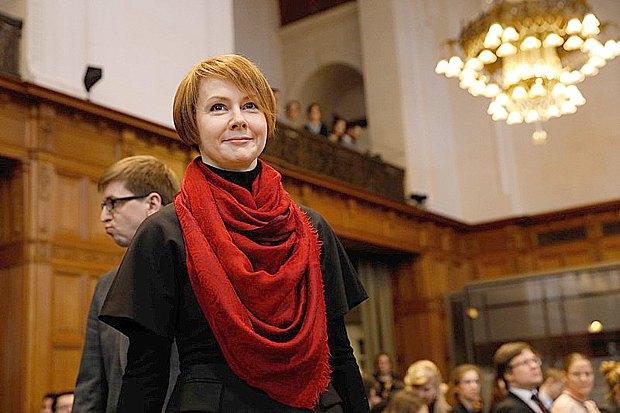Глава украинской делегации Елена Зеркаль во время время публичных слушаний по делу Украины против Российской Федерации, в Международном Суде, Гаага, 06 марта 2017
