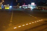 У Києві біля ВДНГ виклали пішохідний перехід LED-бруківкою