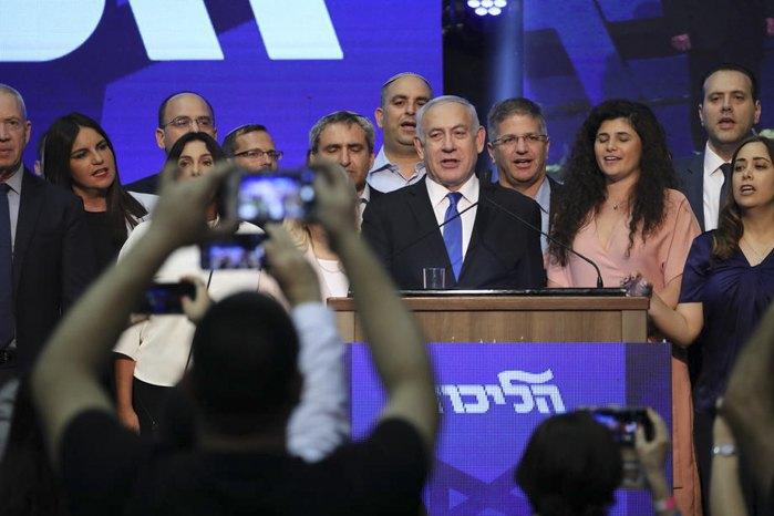 Премьер-министр Израиля и председатель партии Ликуд Биньямин Нетаньяху после окончания голосования в Тель-Авиве, Израиль, 17 сентября 2019