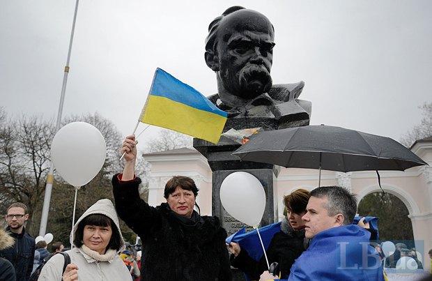 Проукраинский митинг в Крыму в марте 2014 года, незадолго до так называемого референдума
