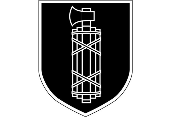 Емблема 29 гренадерської дивізії СС «Італія». Лікторські пучки, які використовуються у символіці правоохоронних органів країн світу