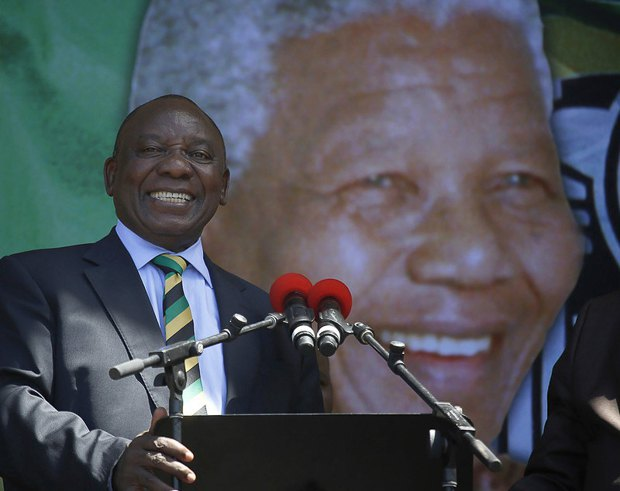 Президент Cирилл Рамафоса во время своего выступления на праздновании 100-летия Манделы в Кейптауне, 11 февраля 2018
