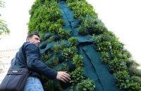 Пьедестал бывшего памятника Ленину в Киеве украсили розмарином и мятой