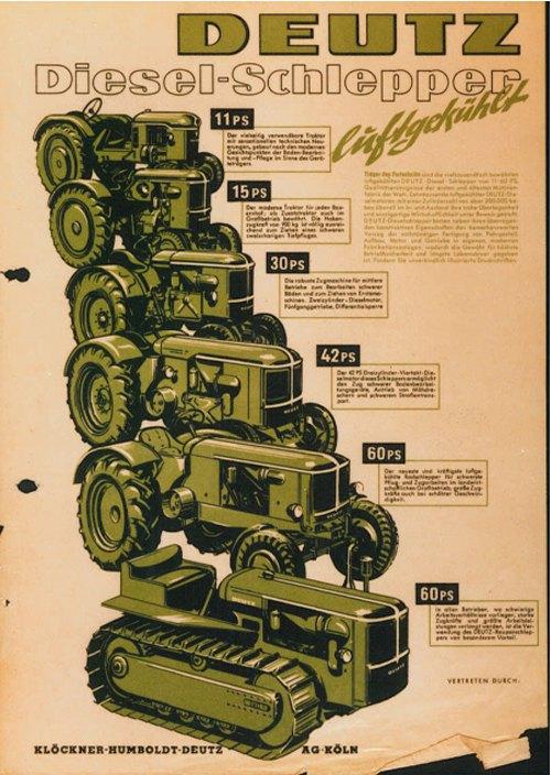 Deutz рекламный каталог для тракторов мощностью от 11 до 60 лошадиных сил (1952) 1
