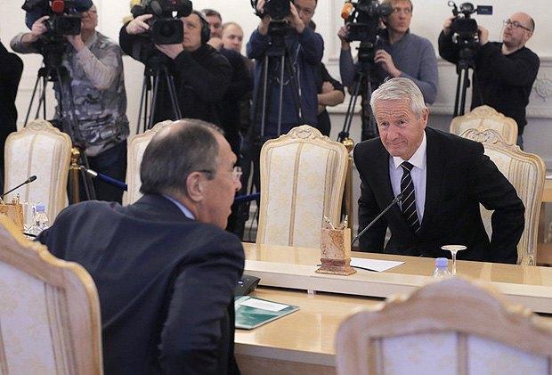 Торбьерн Ягланд и Сергей Лавров во время встречи в Москве, 20 октября 2017.