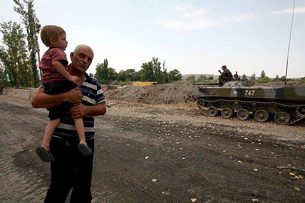 Российсикй танк в Абхазии в 2008 г.