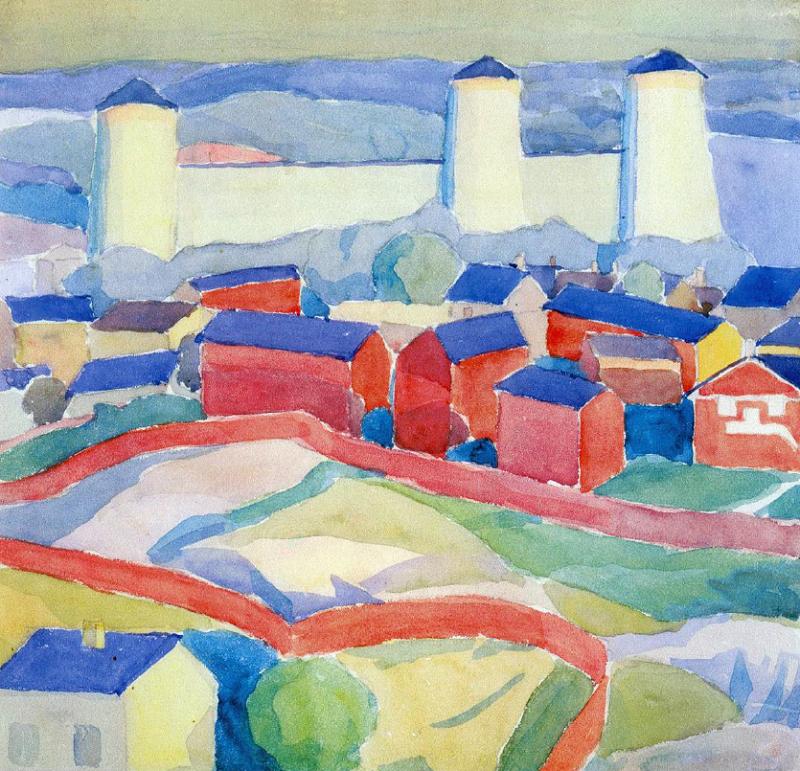 О.Богомазов «Пейзаж з червоними будинками» (колекція Григоришина)