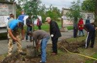 Киевляне высадили сирень в сквере, который обороняют от застройщика