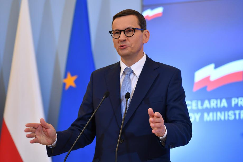 Прем'єр-міністр Матеуш Моравецький на пресконференції у Варшаві, 26 серпня 2021 р.