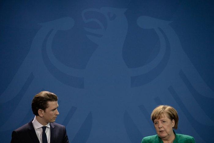 Ангела Меркель и Себастьян Курц на совместной пресс-конференции после встречи в Берлине