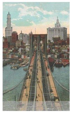 Поштова листівка з зображенням Бруклінського мосту в Нью-Йорку