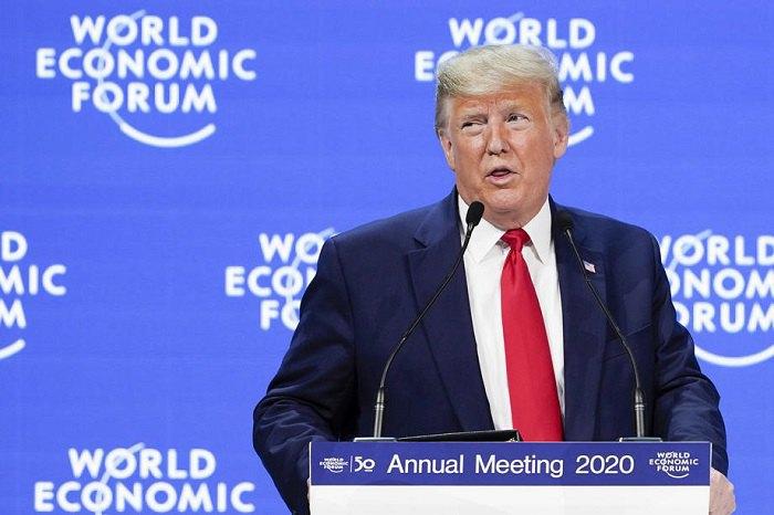 Президент США Дональд Трамп выступает на 50 ВЭФ в Давосе