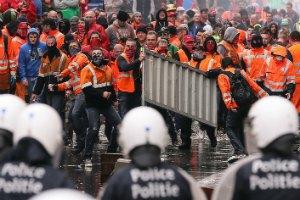 У Брюсселі проходить акція протесту європейських профспілок