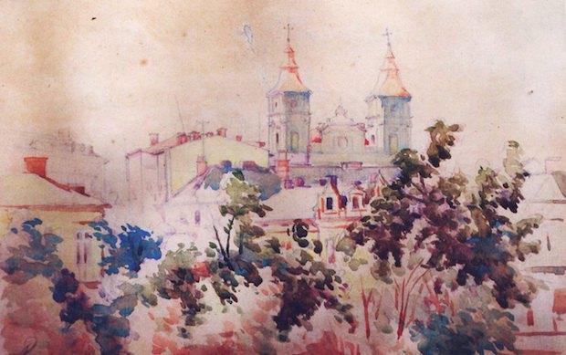 «Катедра в Станиславові». 1949. Акварель, папір.