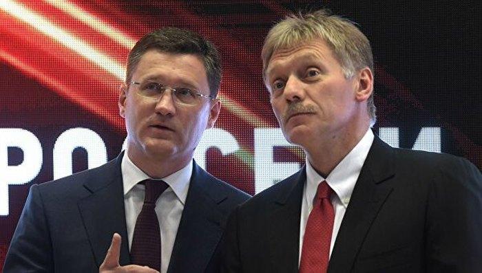 Глава Минэнерго РФ Александр Новак и пресс-секретарь Путина Дмитрий Песков