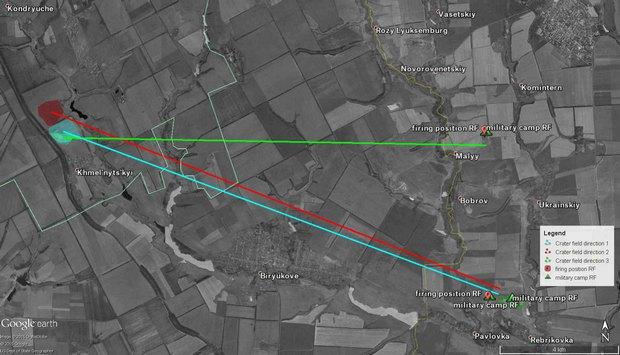Результаты анализа воронок под поселком Хмельницкий к югу от Свердловска.