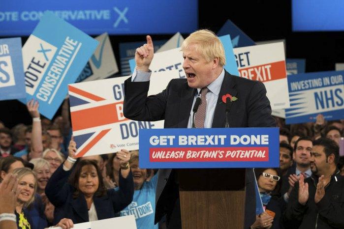 Борис Джонсон выступает с предвыборной речью в Бирмингеме, 06 ноября 2019.
