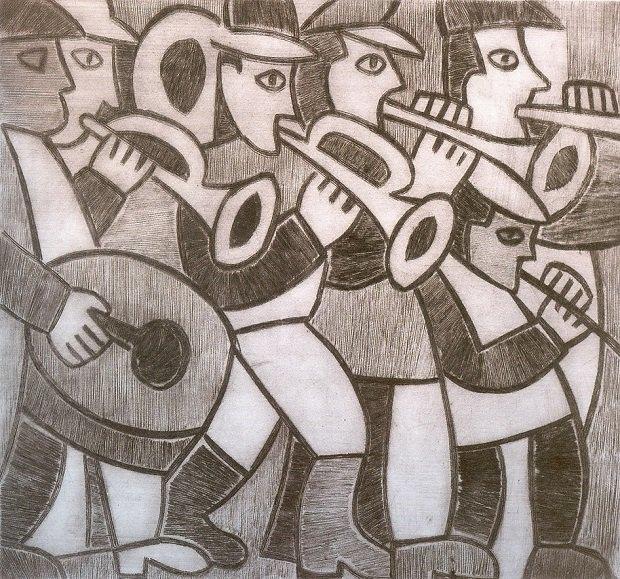 Сільський оркестр. 1970-ті. Папір, офорт.23,6х25,3