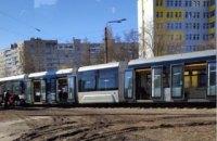 В Киеве на Борщаговке сошел с рельсов скоростной трамвай №1