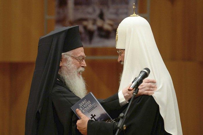 Предстоятель Русской Православной Церкви Патриарх Кирилл и Архиепископ Тиранский и всей Албании АнастАсий