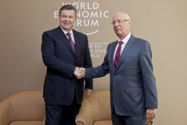 Виктор Янукович с исполнительным председателем Всемирного экономического форума Клаусом Швабом