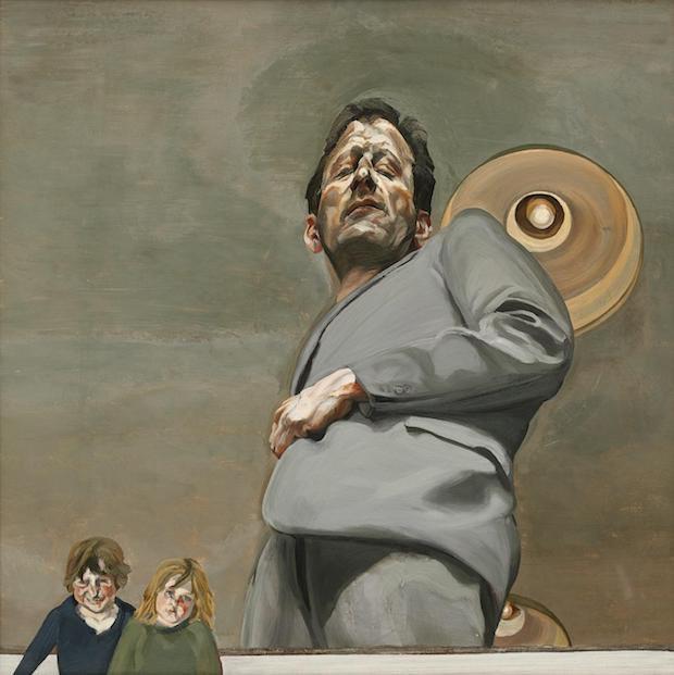 Люсьєн Фройд, Відображення з двома дітьми (автопортрет), 1965. Полотно, олія, 91,5 х 91,5 см