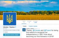 В Twitter появился официальный аккаунт Украины