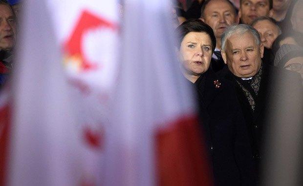 Ярослав Качиньский и премьер-министр Польши Беата Шыдло