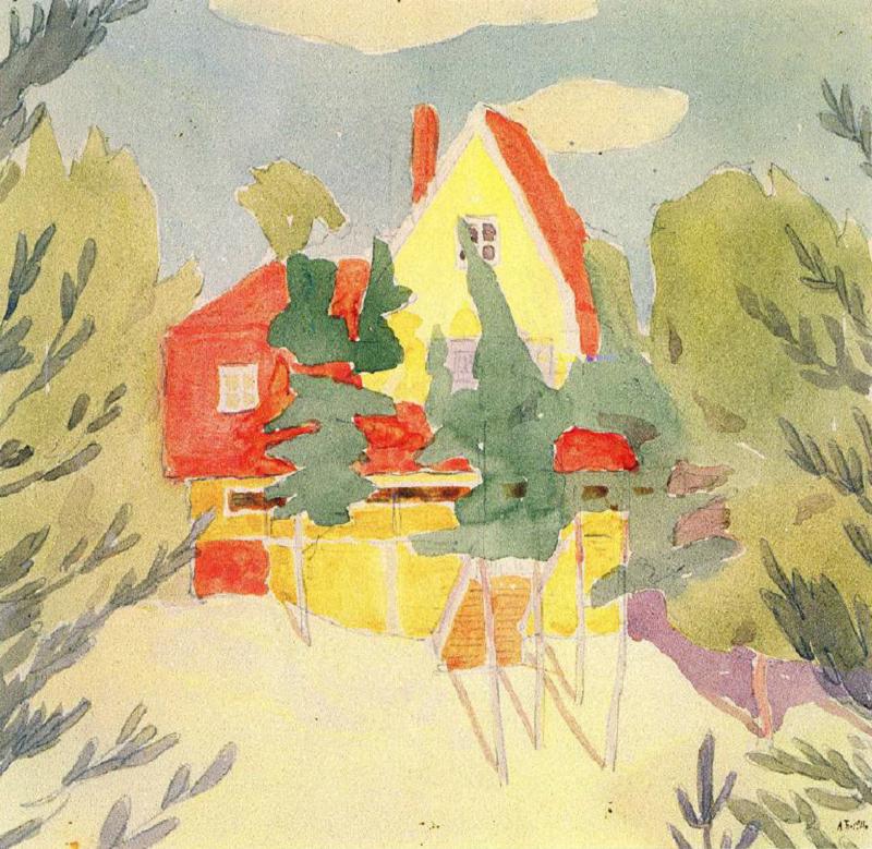 О. Богомазов «Пейзаж з будинком з червоним дахом» (колекція Григоришина, 1911)