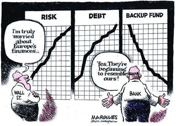 """Американский рынок ценных бумаг на Уолл-Стрит говорит: """"Я действительно обеспокоен европейскими финансами..."""". Американские банки: """"Да, они начинают походить на нас""""."""