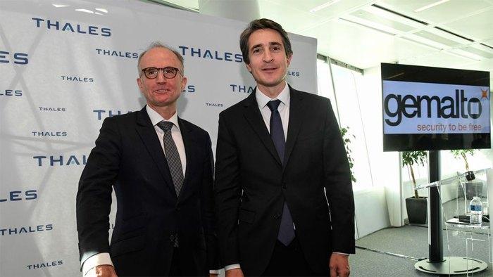 Генеральный директор Thales Патрис Кейн и генеральный директорGemalto Филипп Валле, пресс-конференции, посвященной объединению компаний , 18 декабря 2017 года