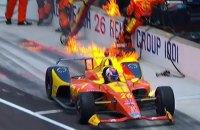 """Гонщика не испугал пожар на собственном болиде во время пит-стопа гонки """"Инди-500"""""""