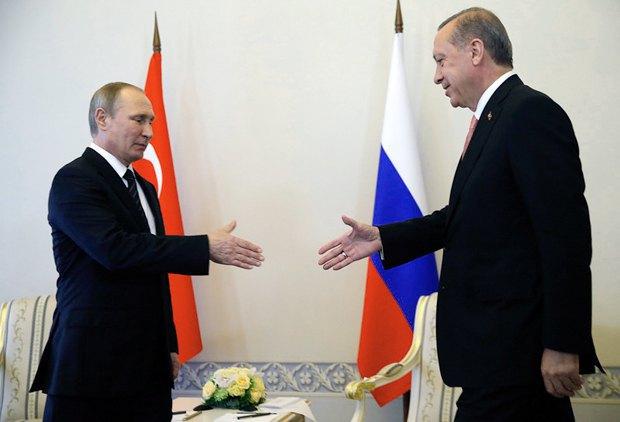 Встреча президента РФ Путина и Турции Эрдогана в Санкт-Петербурге