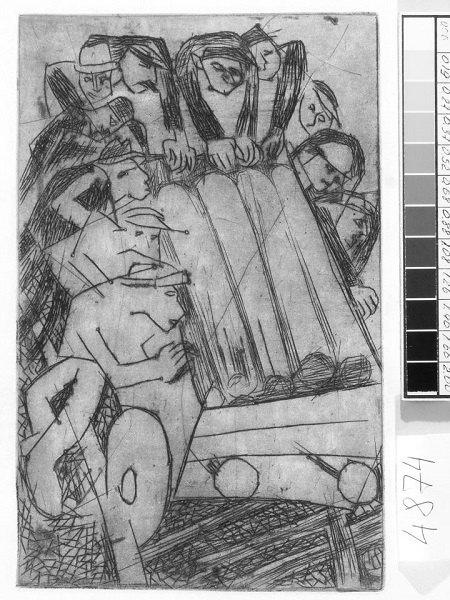Штовхають візок. 1934. Папір, офорт. 19,5х12,5