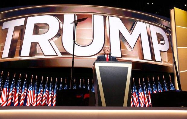 Дональд Трамп во время выступления