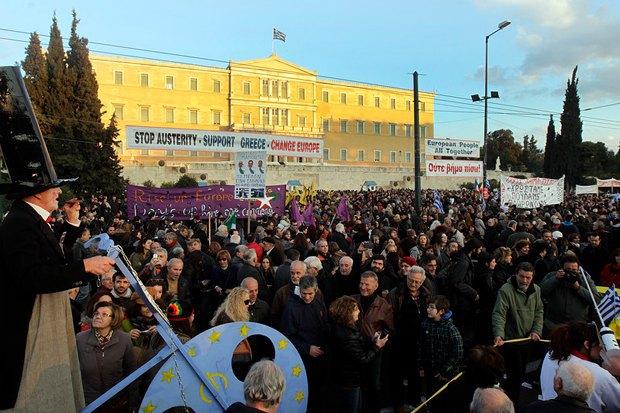 Митинг под зданием греческого парламента 19.02.2015