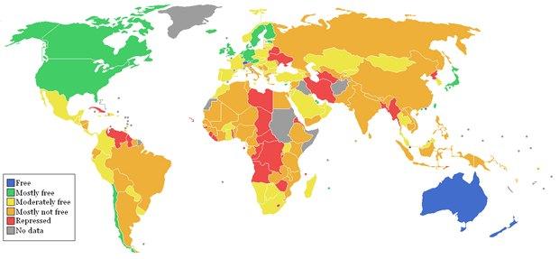 Карта индекса экономической свободы