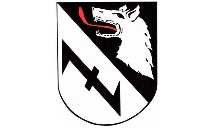Герб міста Бургведель (Нижня Саксонія). Голова вовка та «вовчий гак»
