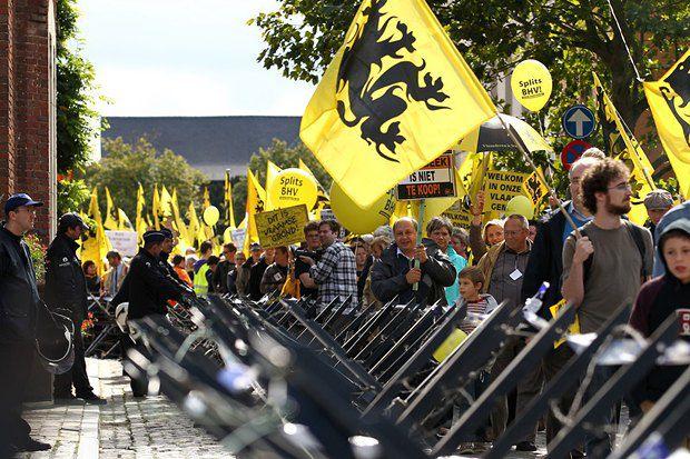 Протесты фламандцев в Бельгии