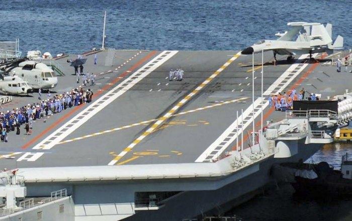 Китайский авианосец 'Шаньдун' после</p> <p>протестирования маневра Андерсона и взлёт-посадки J-15</p> <p>