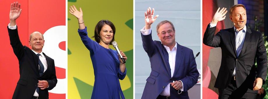 Зліва направо: Олаф Шольц (СДПН), Анналену Бербок (Партія зелених), Армін Лашет (ХДС) та лідер Вільної демократичної партії Крістіан Лінднер