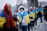 Активисты объединили берега Днепра в День Соборности (исправлено) (ДОБАВЛЕНО ВИДЕО)